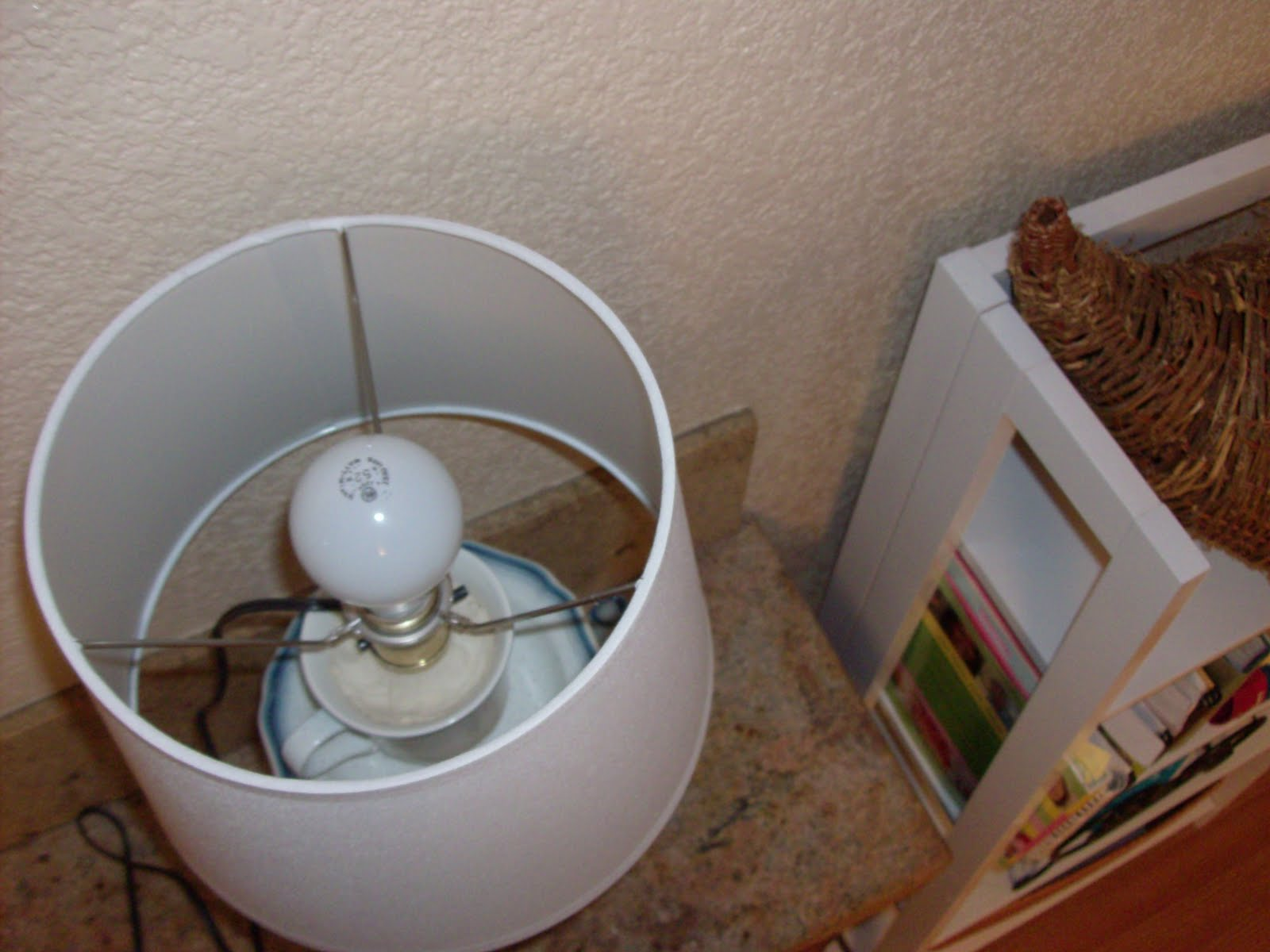 I Put The Lamp Shade Around The Socket And Plugged In A Light Bulb. Hereu0027s  The View From The Top Of The Lamp: