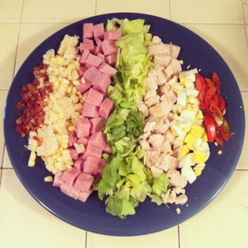 The biggest homemade Cobb salad EVER