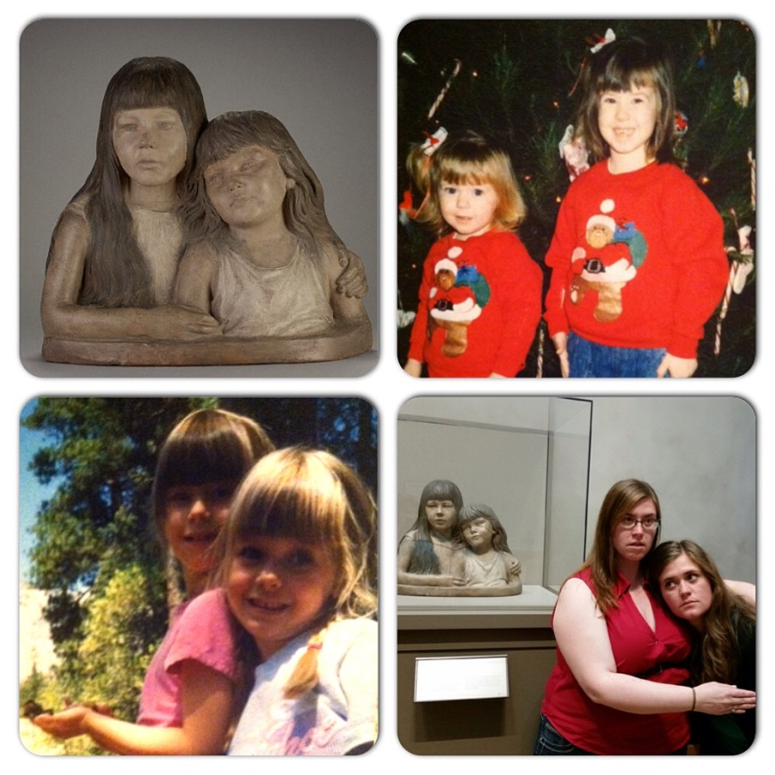 My #ThrowbackThursday post for this week.  For those who don't know what my sister and I looked like when we were young...  Upper left: the actual German sculpture from the 1800s.  Upper right: Christmas 1991.  Lower left: Yosemite 1994.  Lower right: last weekend at the Getty, recreating the statue from our past lives.
