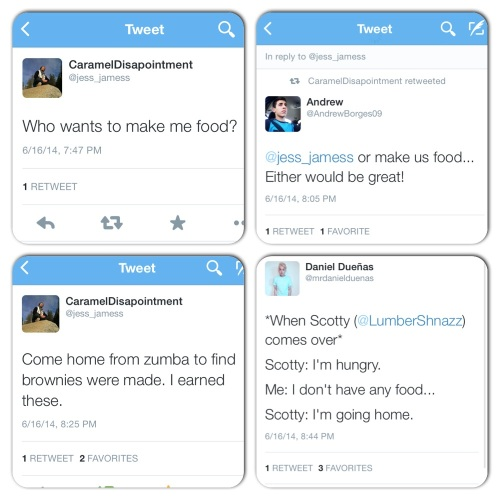 This was the series of tweets after Zumba on Monday. Apparently it was hot (and everyone was hungry)!