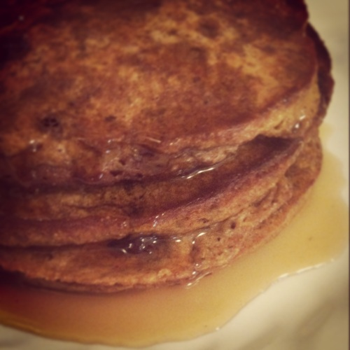 Whole wheat chocolate chip pumpkin protein pancakes