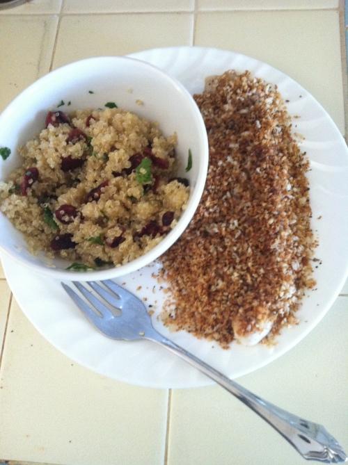 Brown butter fish & zesty quinoa salad