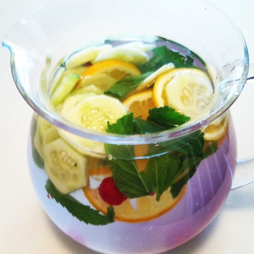 Lemon, cucumber, raspberry, mint infused water