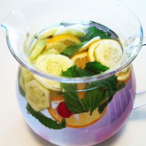 Lemon, cucumber, raspberry, mint infused water